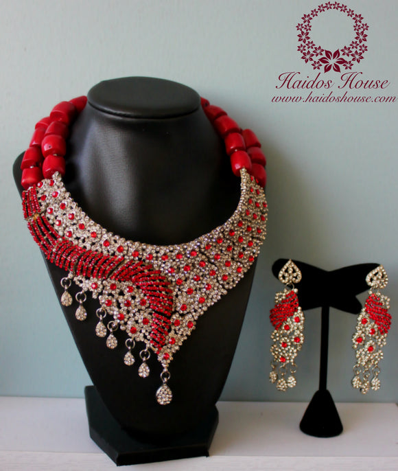 HBS 1202 - Haidos Red Coral & Crystal Bespoke Beads Set