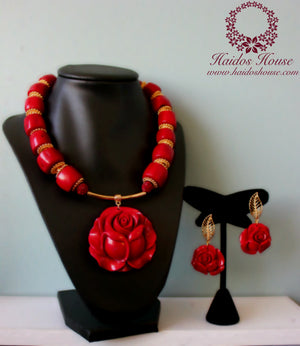 HBS 1203 - Haidos Red Coral Rose Bespoke Beads Set