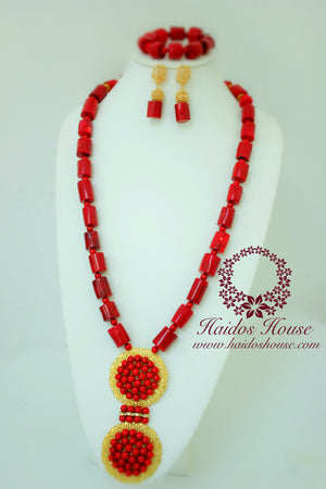 HBS 1211 - Red & Gold Coral Bead Set