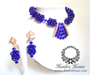 HBS 1278 - Haidos Royal Blue & Gold Barrel Bespoke Beads Set