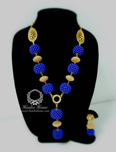 HBS 1221 - Haidos Royal Blue & Gold Bespoke Beads Set