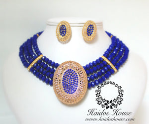 HBS 1281 - Royal Blue Beads Set with Pendant