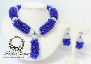 "HBS 1252 - Haidos Royal Blue & Silver ""Daylor"" Bespoke Beads Set"