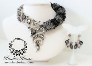 HBS 1258 - Haidos Black,Grey& Silver Crystal Bespoke Beads Set
