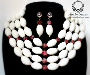 HBS 1279 - Large White Oval Beads Set