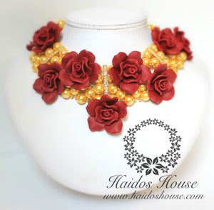 HBS 1284 - Gold and Wine Floral Beads Set
