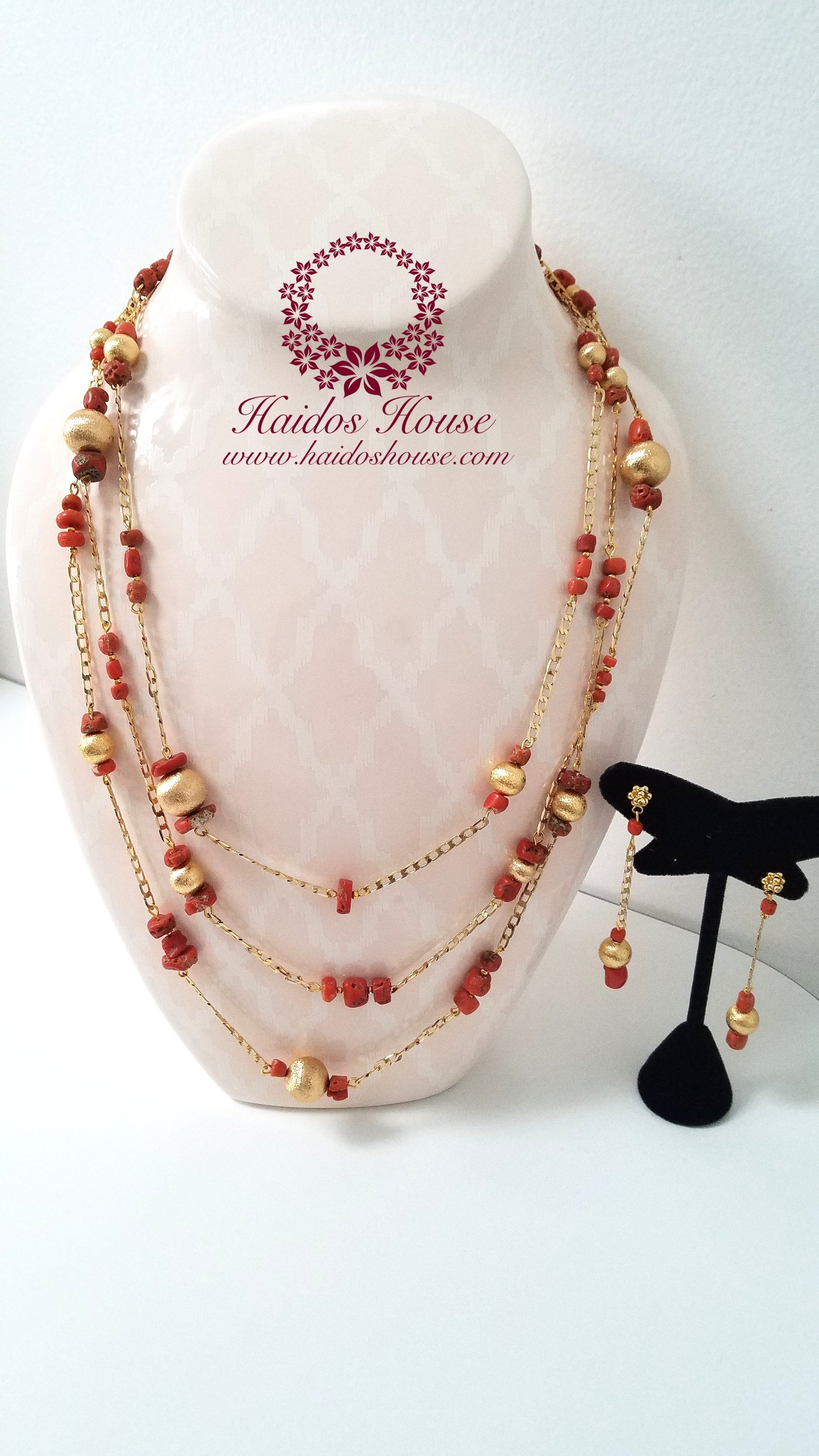 HBS 1189 - Haidos Genuine Red Coral & 24K Gold Filled Chain Bespoke Set
