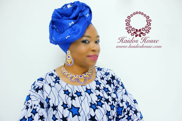 AG - Lovely Rose Design Auto-Gele/ Aso-oke Turban in Royal Blue I