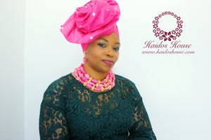 AG - Lovely Rose Design Auto-Gele/ Aso-oke Turban in Dark Pink