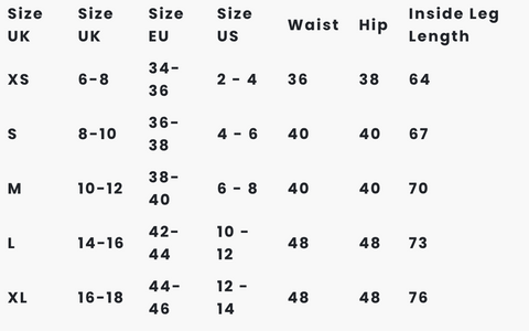 Thought Clothing Bottoms Size Chart