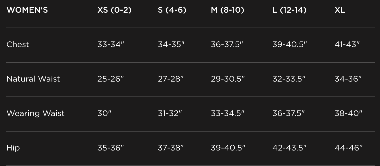 Toad & Co. Women's Size Chart