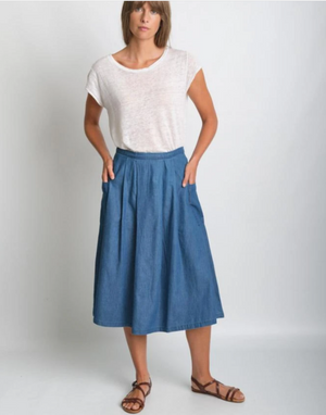 Una Midi Skirt Denim 8UK