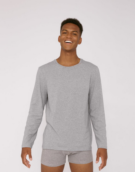 Organic Basics Men's Long Sleeve Tee in Grey front