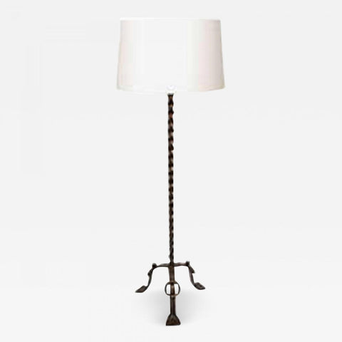 1940s French Art Moderne Floor Lamp Crafted of Wrought Iron