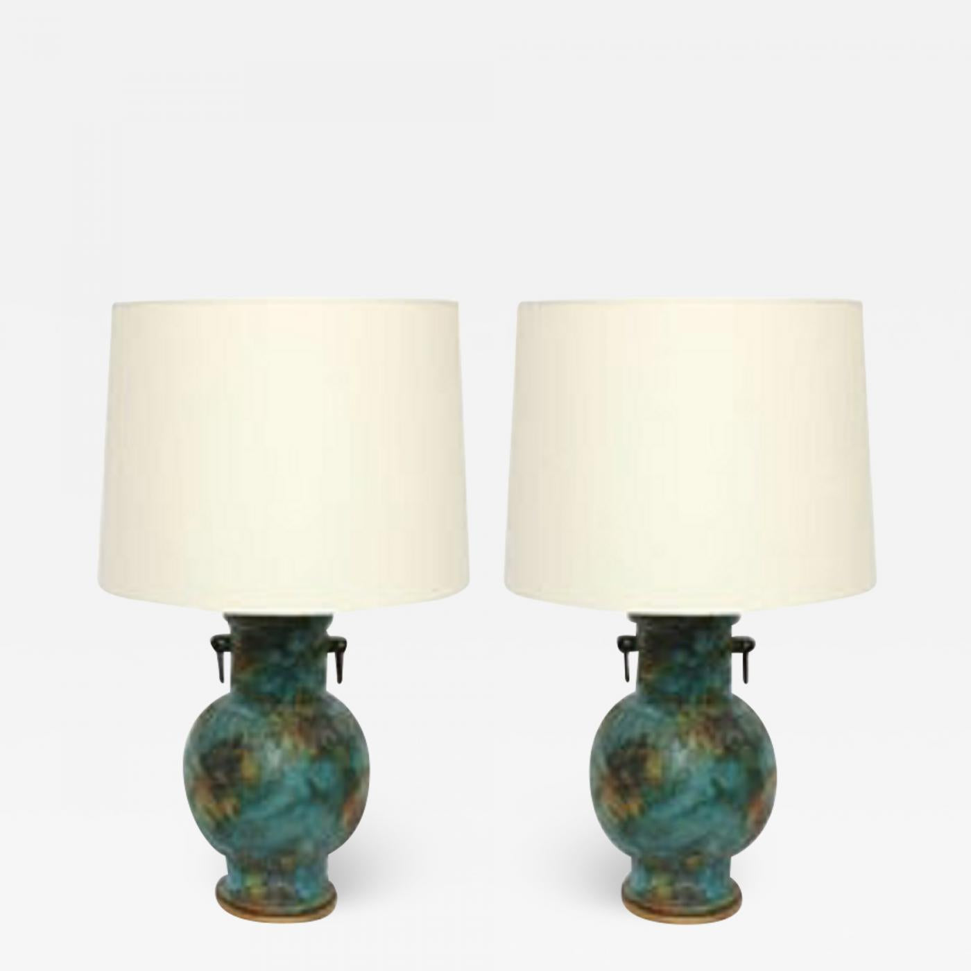 A Pair of 1950's Italian Archaic Modern Ceramic Table Lamps
