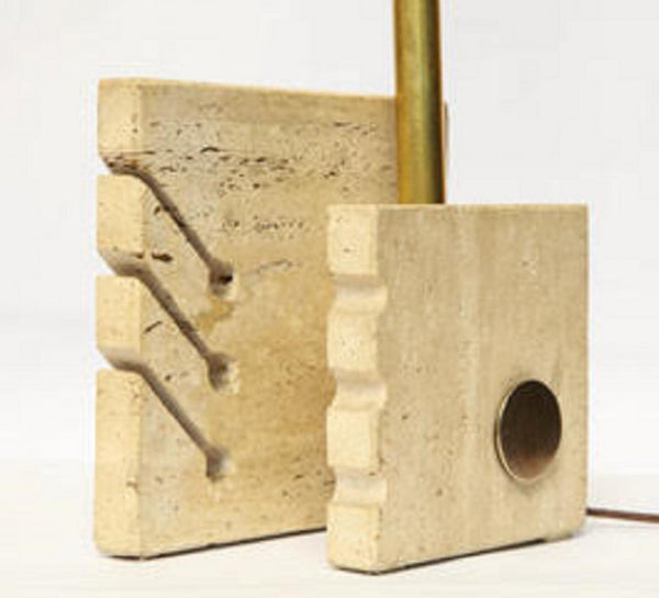 An Architectural Table Lamp the Cubist form crafted of terrazzo and brass Italy