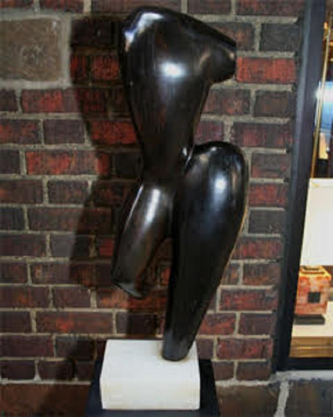 Brumme Sculpture Mid Century Modern Abstract Torso carved wood 1946