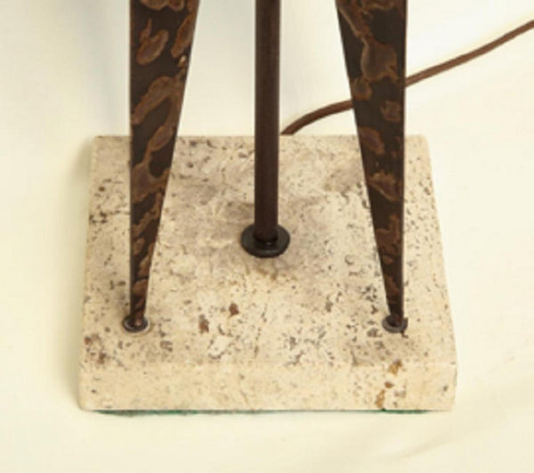 Fantoni (Attributed) Fantoni Table Lamp Mid-Century Modern Sculptural Form Crafted of Patinated Iron
