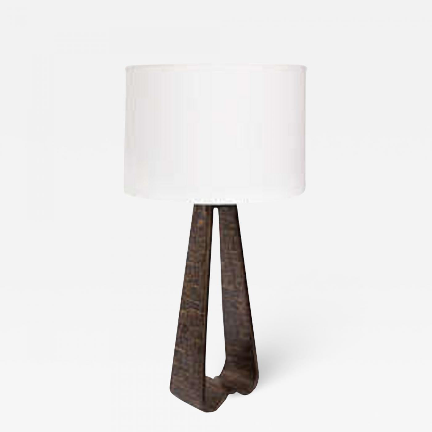 Fantoni (Attributed) Fantoni Table lamp Brutalist Mid Century Modern brass Italy 1960's