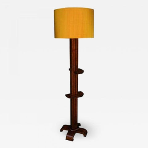 Floor Lamp Art Deco Architectural burled wood France 1930's