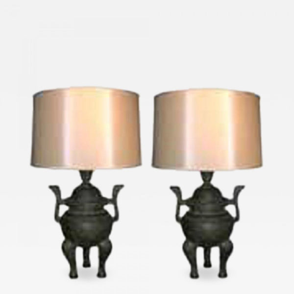 James Mont (Attributed) James Mont Table Lamps Pair Mid Century Modern Asian Stye 1940's