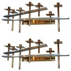 Pair of Architectural Wall Sconces Mid Century Modern steel and brass American 1960's