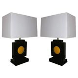 Table Lamps Pair Art Deco Cubist lacquered wood attributed to Hugo Gnam America 1930's