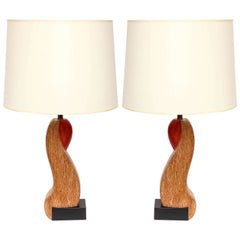 Table Lamps Pair Mid Century Modern Sculptural form wood America 1940's