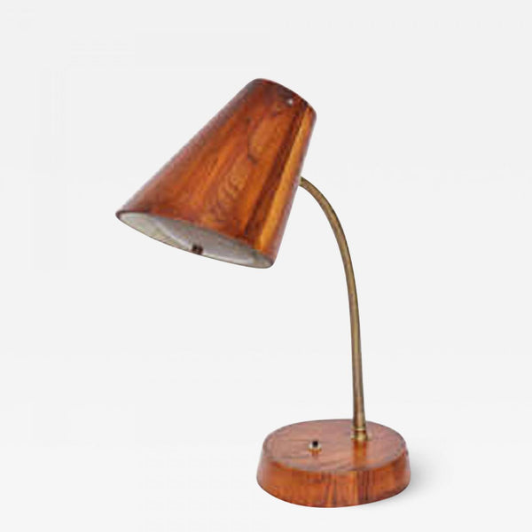 Table Lamp Articulated Mid Century Modern wood and brass 1940's