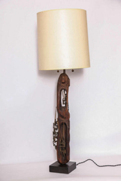 Table Lamp Brutalist Mid-Century Modern Patinated Iron and Wood, 1960s