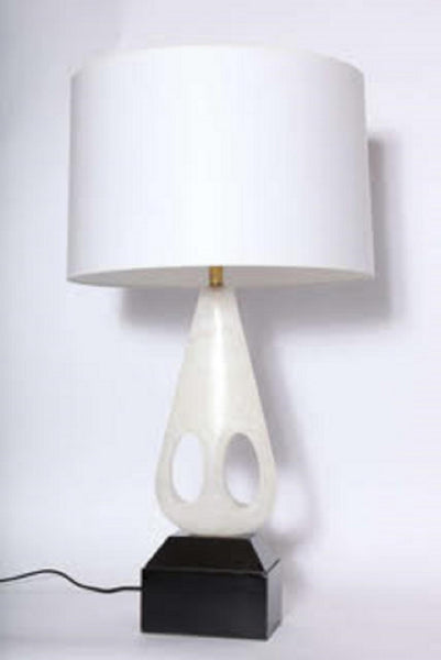 Table Lamp Mid Century Modern Sculptural carved marble Italy 1950's