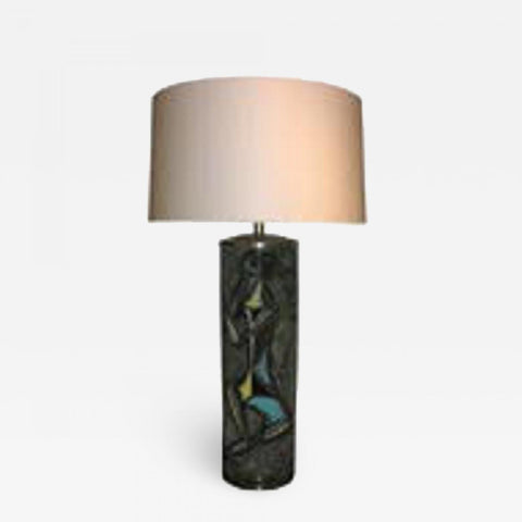 Table Lamp Mid Century Modern Sculptural ceramic with Abstract Figures
