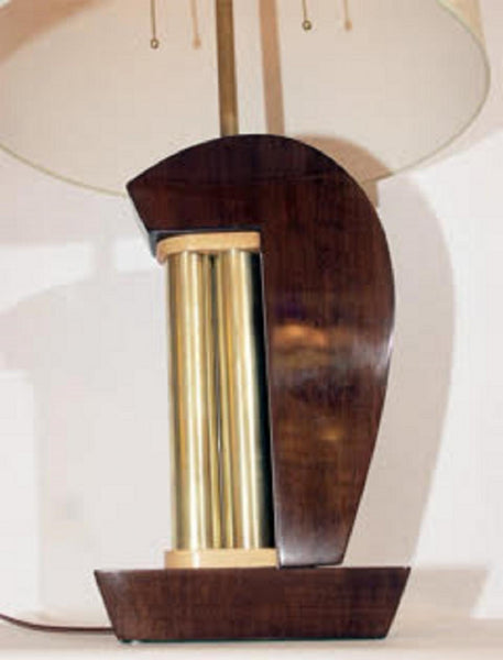Table Lamps Pair Art Deco Modernist lacquered wood and brass 1930's