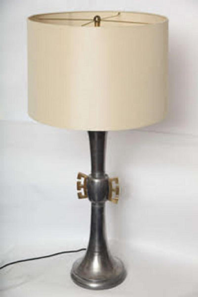 Table Lamps Pair Mid Century Modern brass and pewter 1940's