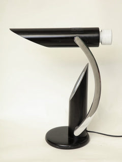 Table Lamp Articulated Mid Century Modern Shade adjusts chrome and painted metal Italy 1970's