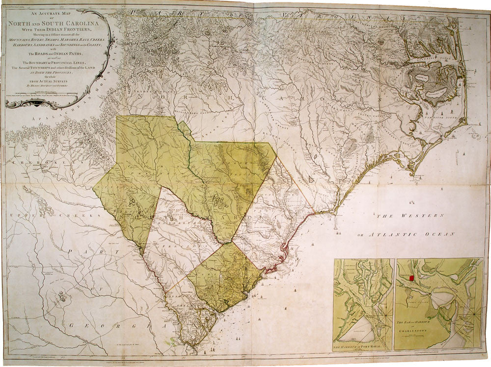 MOUZON Henry An Accurate Map Of North And South - North and south carolina map
