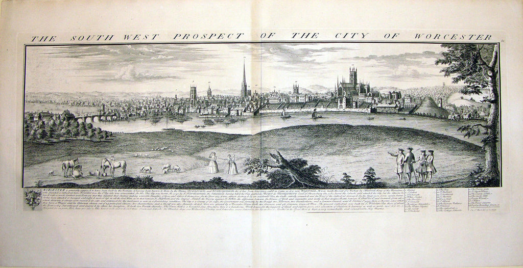 THE SOUTH WEST PROSPECT OF THE CITY OF WORCESTER by Buck, Samuel and Nathaniel