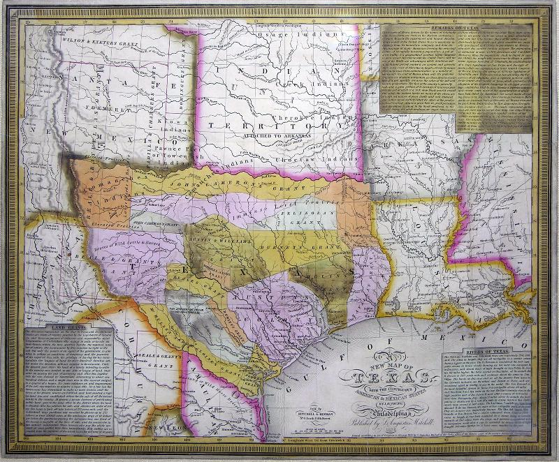 MITCHELL, Samuel Augustus (1790-1868). Map of Texas.