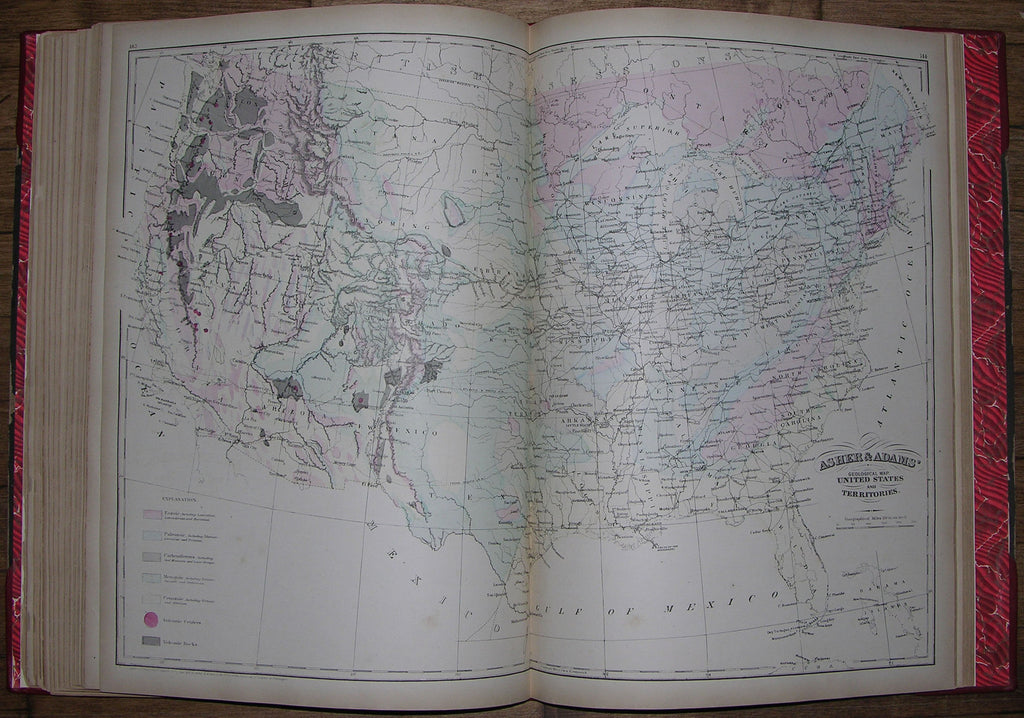 [ASHER & ADAMS]. New Statistical and Topographical Atlas of the United States with maps showing the Dominion of Canada, Europe and the World. New York: Asher & Adams, [1873].