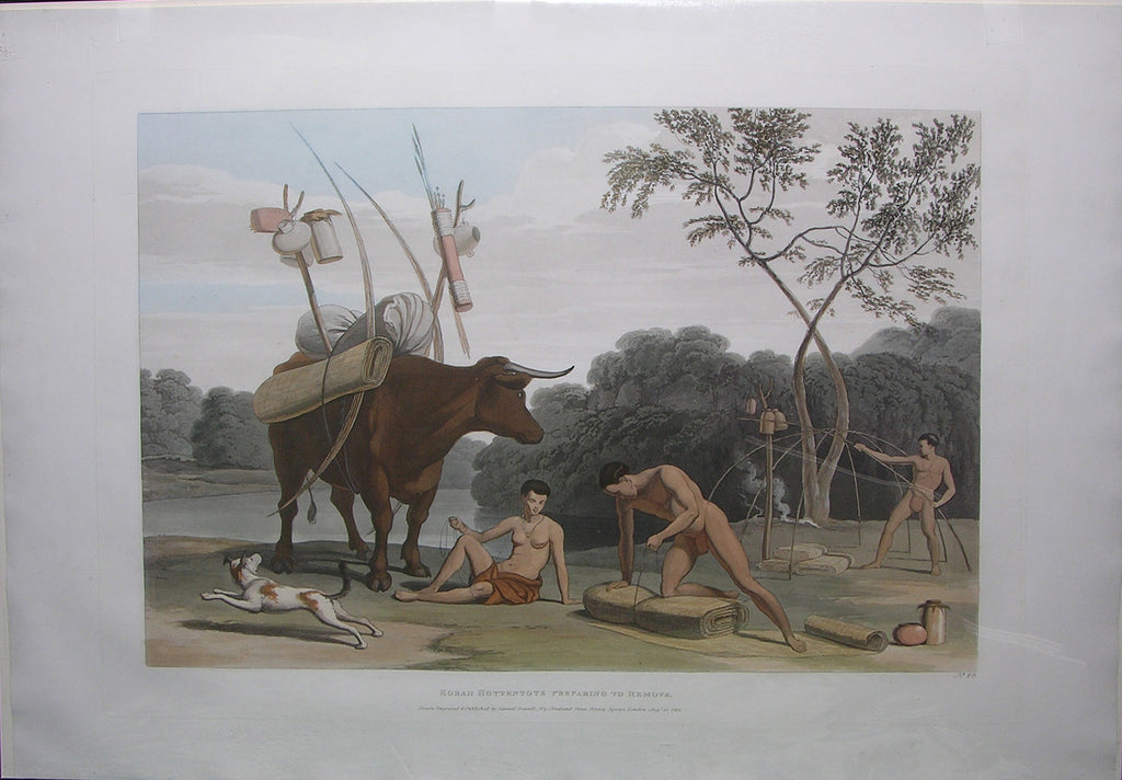 DANIELL, Samuel (1775-1811). Korah Hottentots Preparing to Remove. London: Samuel Daniell, 1805.