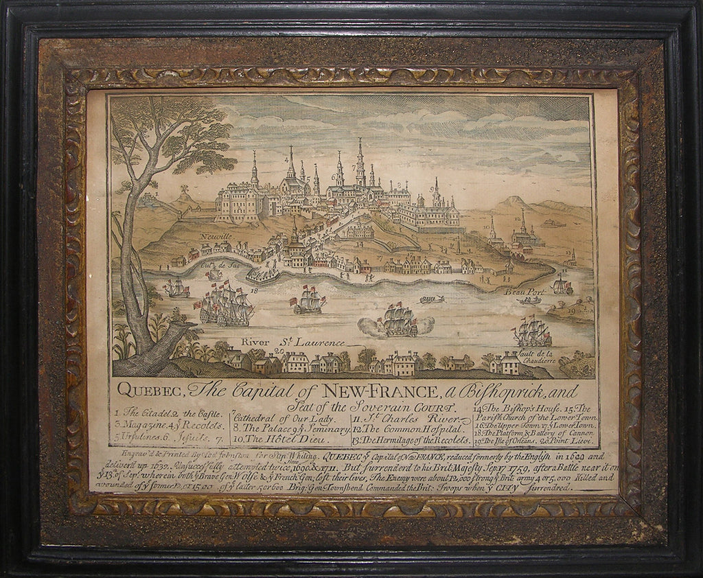 JOHNSTON, Thomas. Quebec, the Capital of New-France, a Bishoprick, and Seat of the Soverain Court. [Boston, 1759].