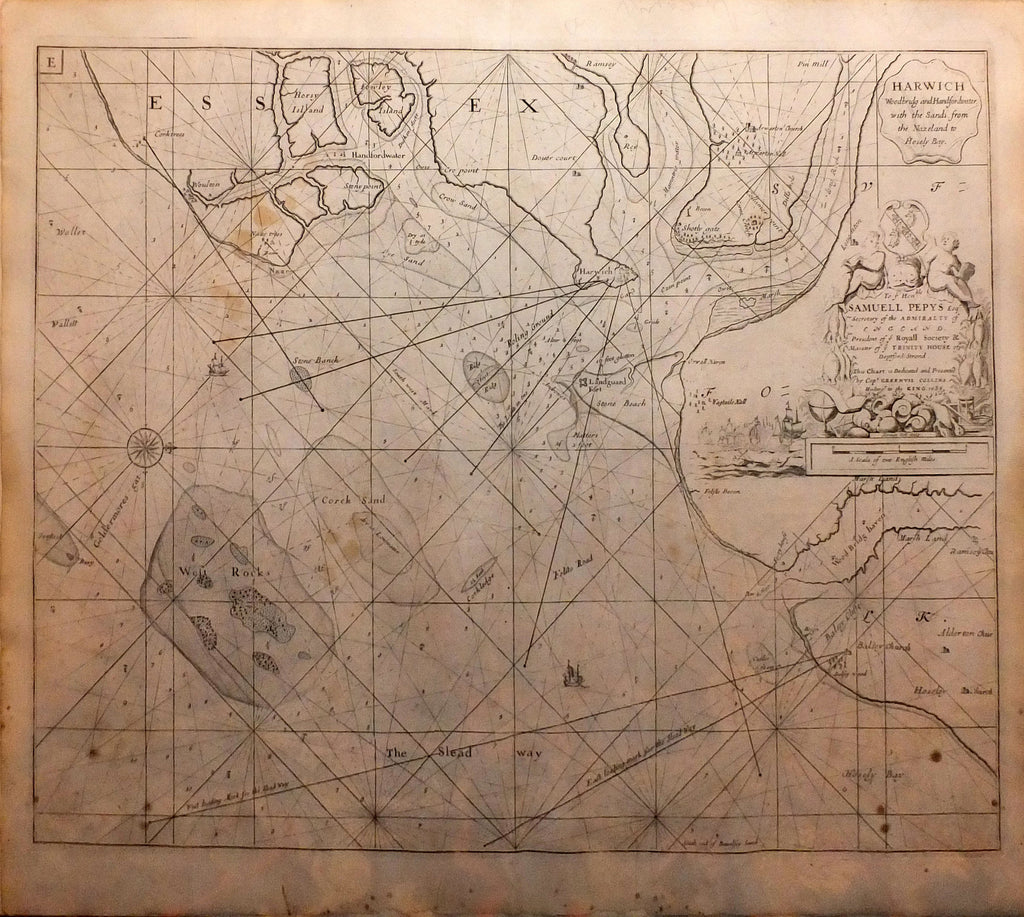 COLLINS, Capt. Greenville (1643-1694). Harwich Woodbridg and Handfordwater with the Sands from the Nazeland to Hosely Bay. London: William Mount and Thomas Page, 1738.