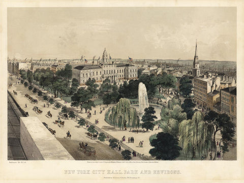 BACHMAN, John (1790-1875). New York City Hall, Park, and Environs. New York: Williams and Stevens, c. 1849.