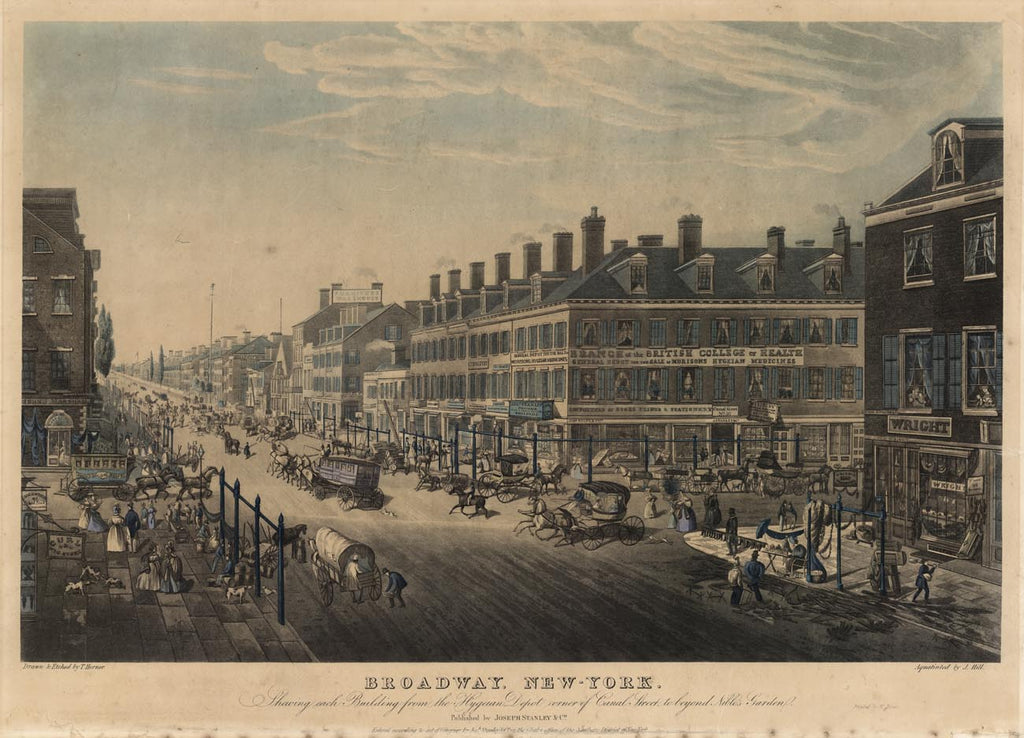 Joseph Stanley, John Hill (1770-1850), & Thomas Hornor (1785-1844). Broadway, New York. 1836.