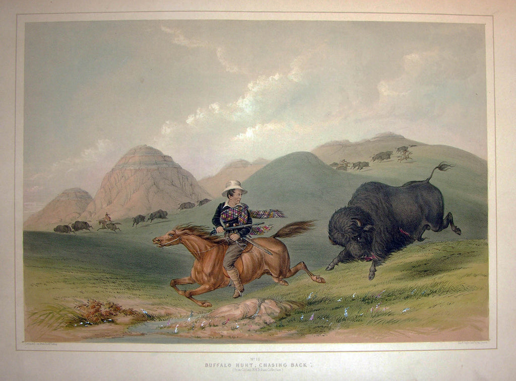 CATLIN, George (1796-1872). Plate No. 12 Buffalo Hunt, Chasing Back