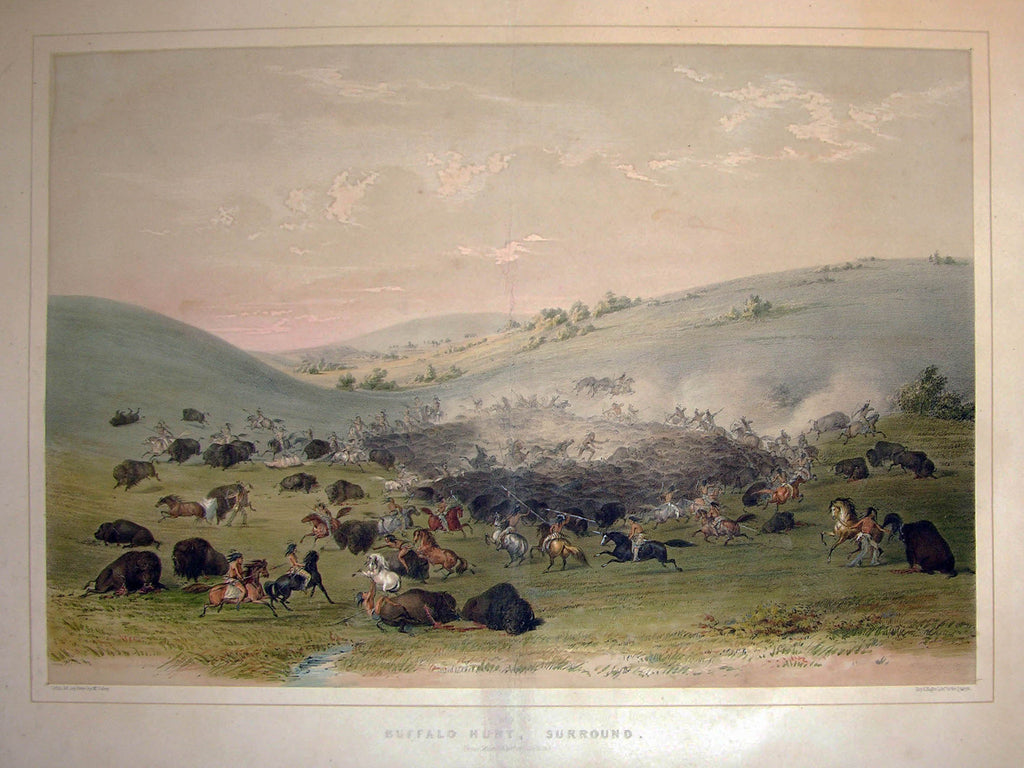 CATLIN, George (1796-1872). Plate No. 09 Buffalo Hunt, Surround