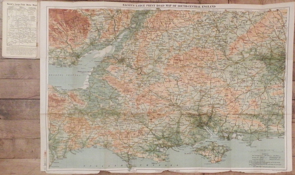 bacons large print motor map of england south central section sheet