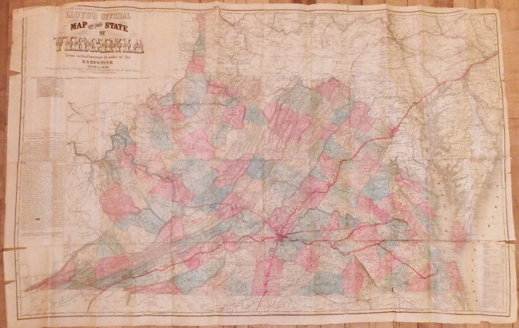 VIRGINIA. Lloyd's Official Map of the State of Virginia. New York: Wynkoop & Hallenbeck, 1872