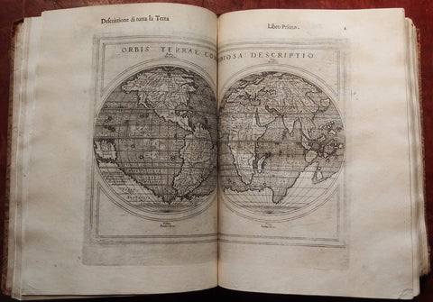 PTOLEMAEUS, Claudius (after 83 - ca 168 AD) - Girolamo RUSCELLI (1500 - 1566). La Geografia. Translated from Greek into Italian by Geronimo Ruscelli. Venice: Heirs of Melchior Sessa, 1599.