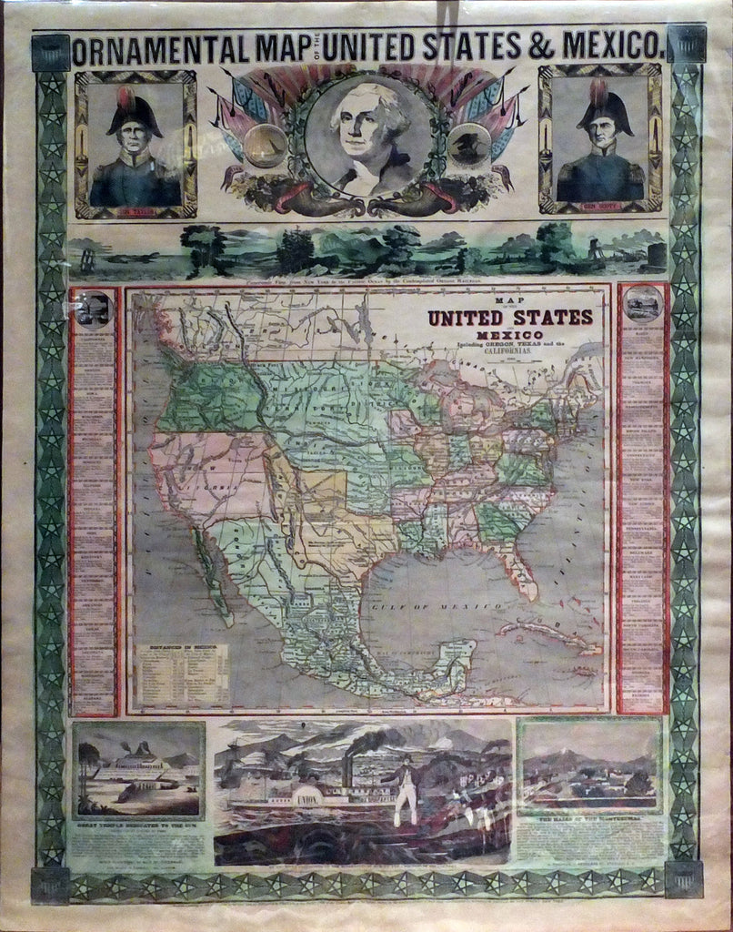 ENSIGN & THAYER. Ornamental Map of the United States & Mexico. New York: Ensign & Thayer, 1848.